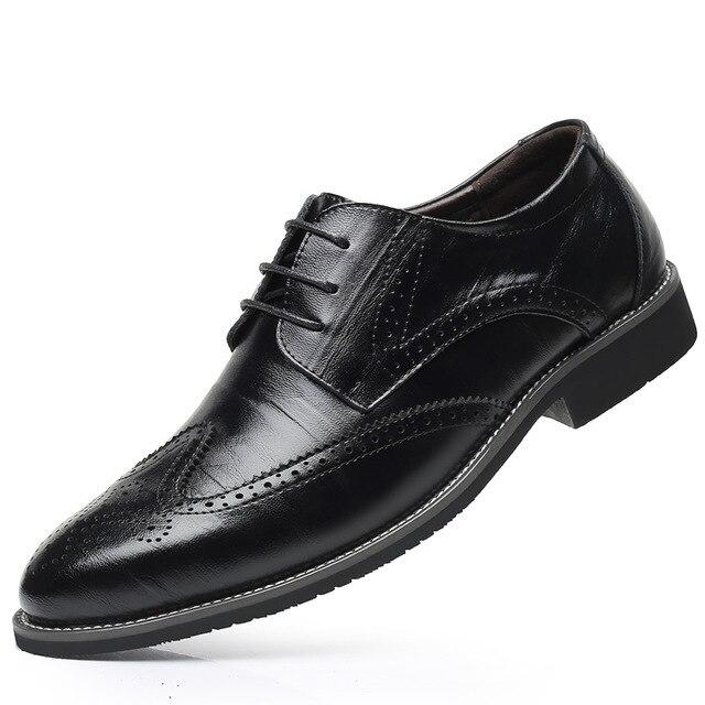 SZSGCN428 2019 novos homens oxford couro genuíno vestido sapatos brogue rendas até apartamentos masculinos sapatos casuais preto marrom tamanho 38 48