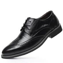 Zapatos de vestir Oxford de piel auténtica para hombre, calzado informal con cordones, color negro y marrón, talla 38 48, SZSGCN428 2019