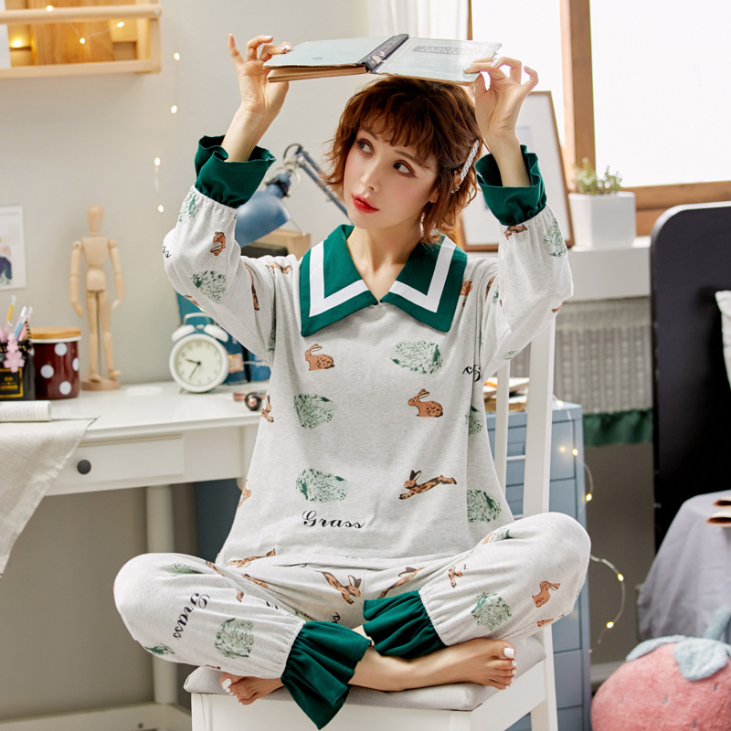Pajamas Women's Spring And Autumn Pure Cotton Long Sleeve Cute Rabbit Korean-style Sweet Thin Casual-Outer Wear Homewear Set