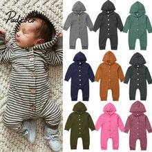 Комбинезон в полоску для новорожденных мальчиков и девочек от 0 до 24 месяцев+ однотонный комбинезон с капюшоном, зимняя теплая одежда с длинными рукавами костюмы для малышей