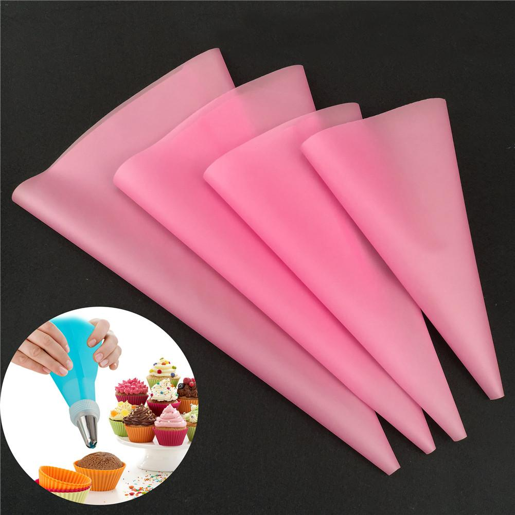 4pcs Cake Decorating Tools Confectionery Bag Silicone Icing Piping Cream Pastry Bag Nozzle DIY Baking Decorating Tools in Decorating Tip Sets from Home Garden