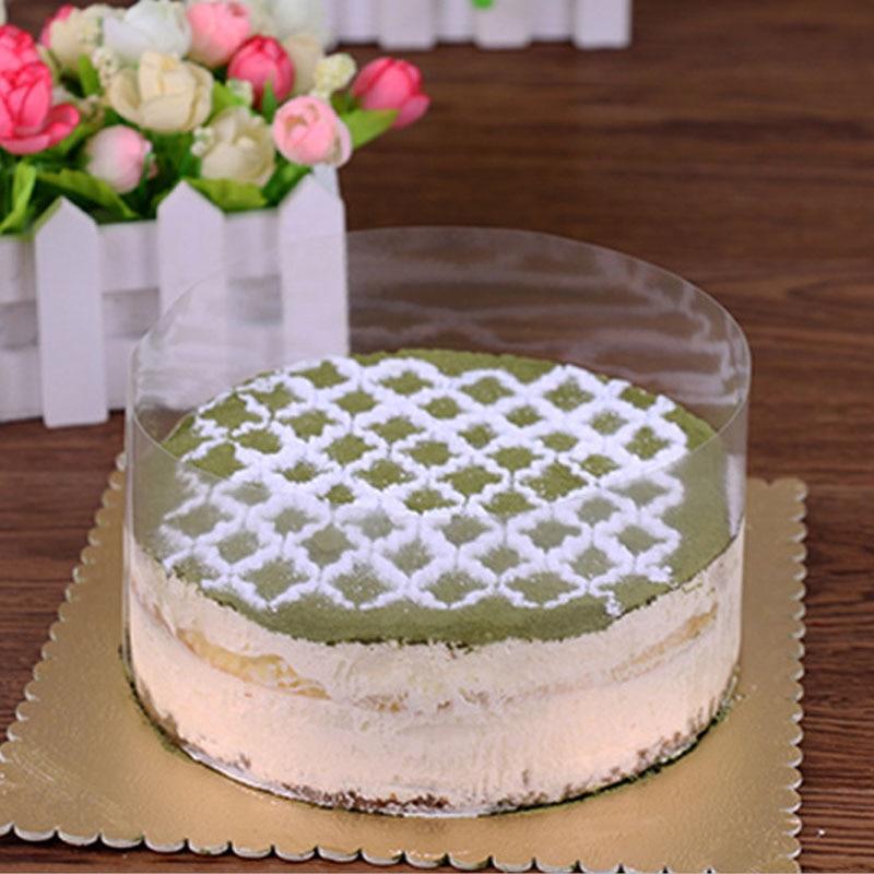 Mousse Cake Transparent Dessert Surrounding The Hard Decorative Foil Bound Food Film Around The Edges Cake OPP Plastic Band