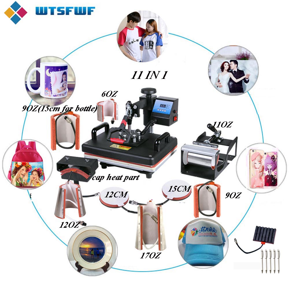 Freeshipping 11in1 Heat Press Machine 2D Sublimation Machine For Tshirts Plates Mugs Cases Pens