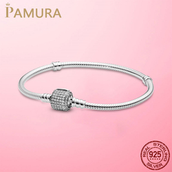Classic 925 Sterling Silver Sparkling Pave Clasp Snake Chain Bracelet For Women Fit Original Brand DIY Charm Beads Jewelry Gift