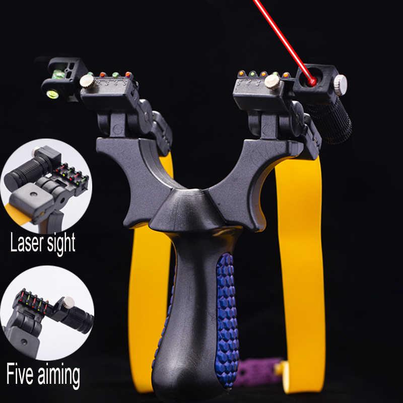 Presisi Tinggi Datar Karet Band Katapel Kolam Menembak Laser Katapel Kepala Dapat Disesuaikan Cocok untuk Pemula