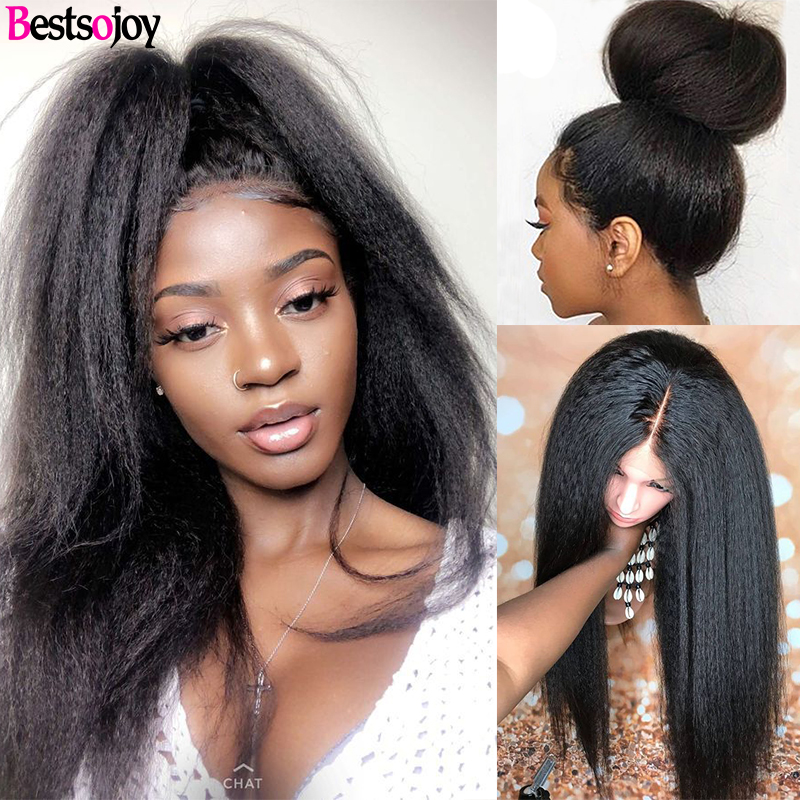 Bestsojoy Coarse Kinky Straight Lace Front Human Hair Wigs 8
