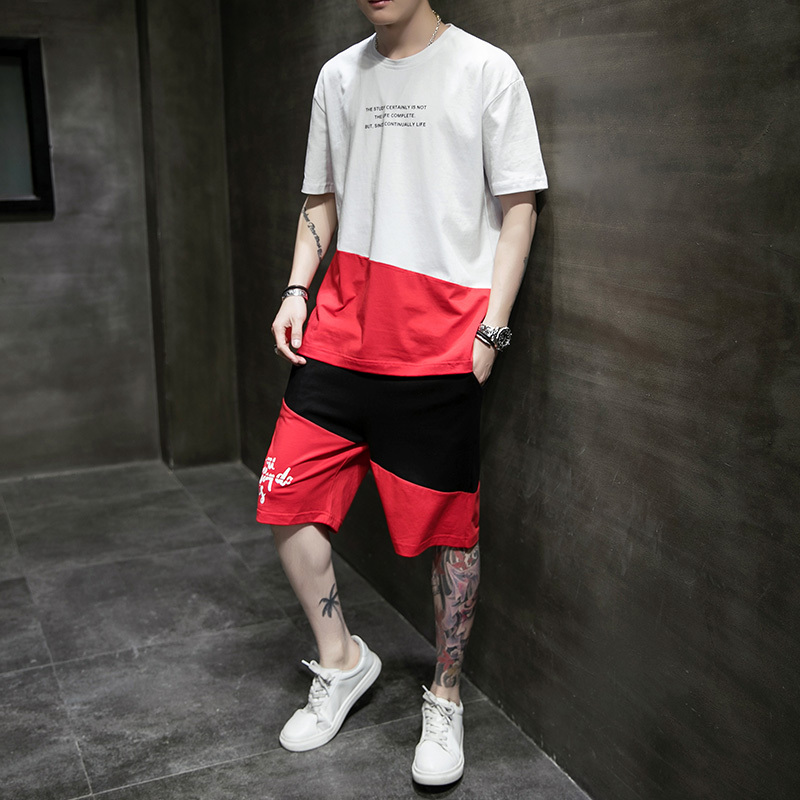 Cool Men's Summerf Clothing Outdoor Street Casual Fashion Shirts and Shorts Uniform Set