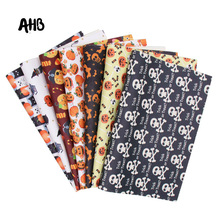 AHB 22 *30cm Halloween Synthetic Leather Sheet Pumpkin Artificial DIY Sewing PU Fabric for Garment Knotbow Bags Making