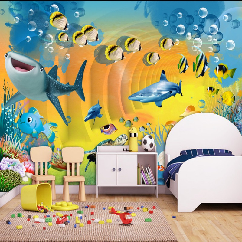 Dropship Custom Photo Wallpaper Fantasy Sea World Colorful Animal Mural Children's Room Decoration Background Wall Paper 3d