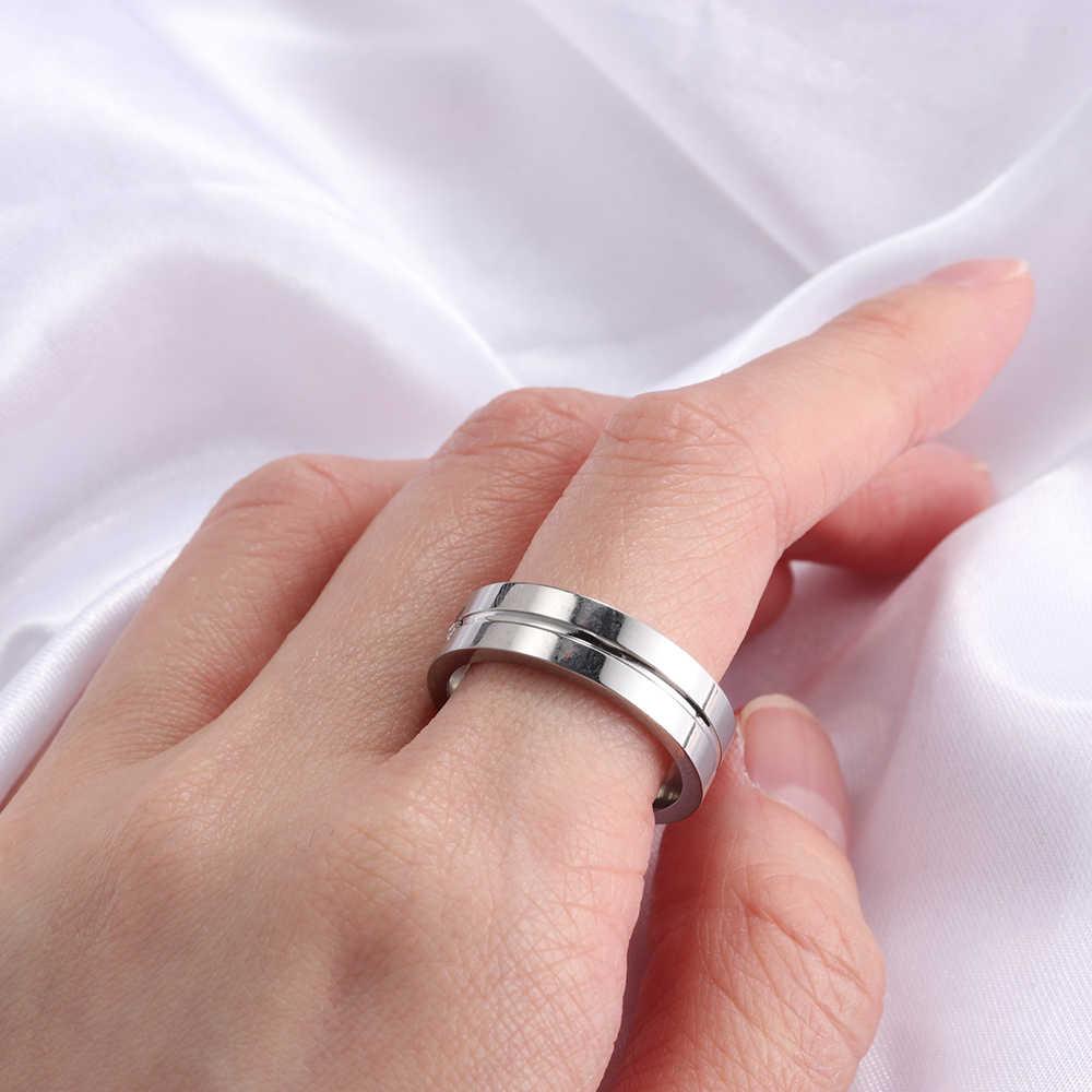 Size6-12 list pierścień romantyczny stal nierdzewna para pierścień kochanka Cubic cyrkon złoty kolor obrączki dla kobiet mężczyzn prezent dla par