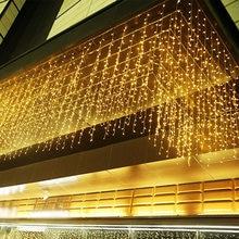 4m 8 12 16m 20m guirlanda de natal cortina led luzes da corda do icicle droop 0.6m jardim rua ao ar livre luz de fadas decorativa