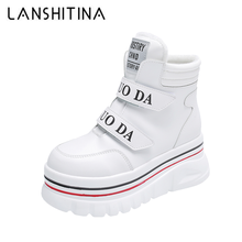 Chunky Sneakers Snow-Boots High-Platform Women Shoes Velvet White Sole Winter Ankle 6CM