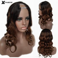 Ombre Brown Human Hair Wigs Body Wave Malaysian Remy Glueless 2x4'' U Part Wig Middle Right Left U Part Two Tone #1bTBrown Color