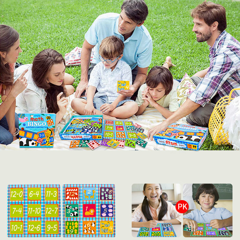 Simple Math bingo game learning education toys for children addition & subtraction math toys memorie games kids Educational toys 6