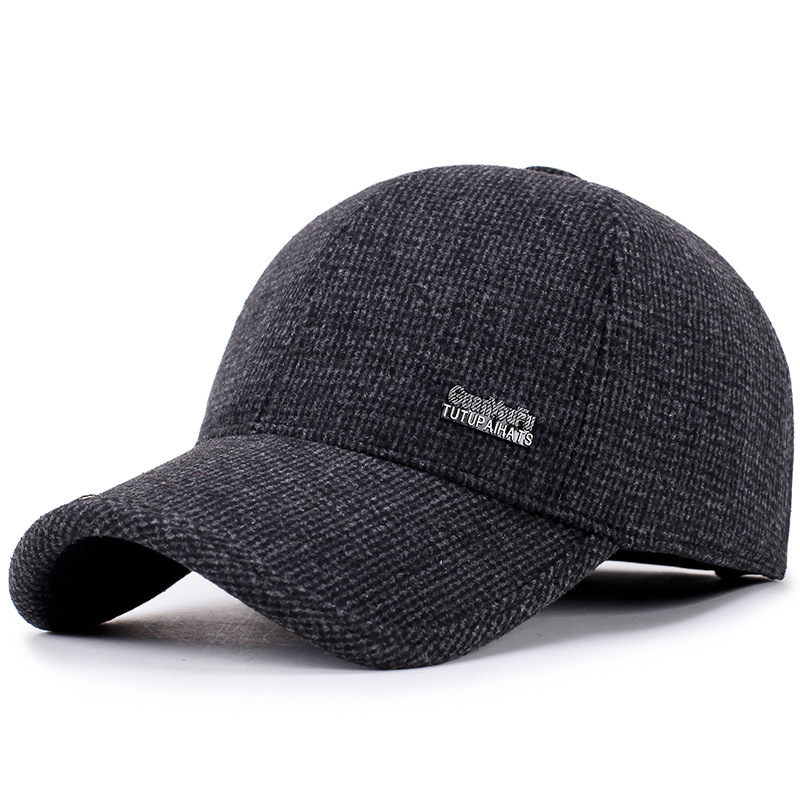 2019 new   baseball     cap   mosaic standard middle-aged   caps   men's autumn and winter woolen dad hats outdoor warm old hat