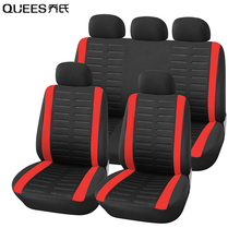 QUEES 9pcs General Car Seat Cover Fabric Automobile Salon Protective Cover Auto Interior Accessories Car styling Car Goods