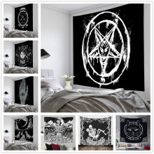 Cat Tapestry Flag Wall-Blanket Witchcraft Decor Tarot Satan Hand-Hippie-Moon Black Pentagram