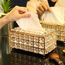 Berlian Imitasi Tissue Kotak Kertas Rak Meja Kantor Aksesoris Wajah Case Pemegang Serbet Tray untuk Rumah Hotel Mobil