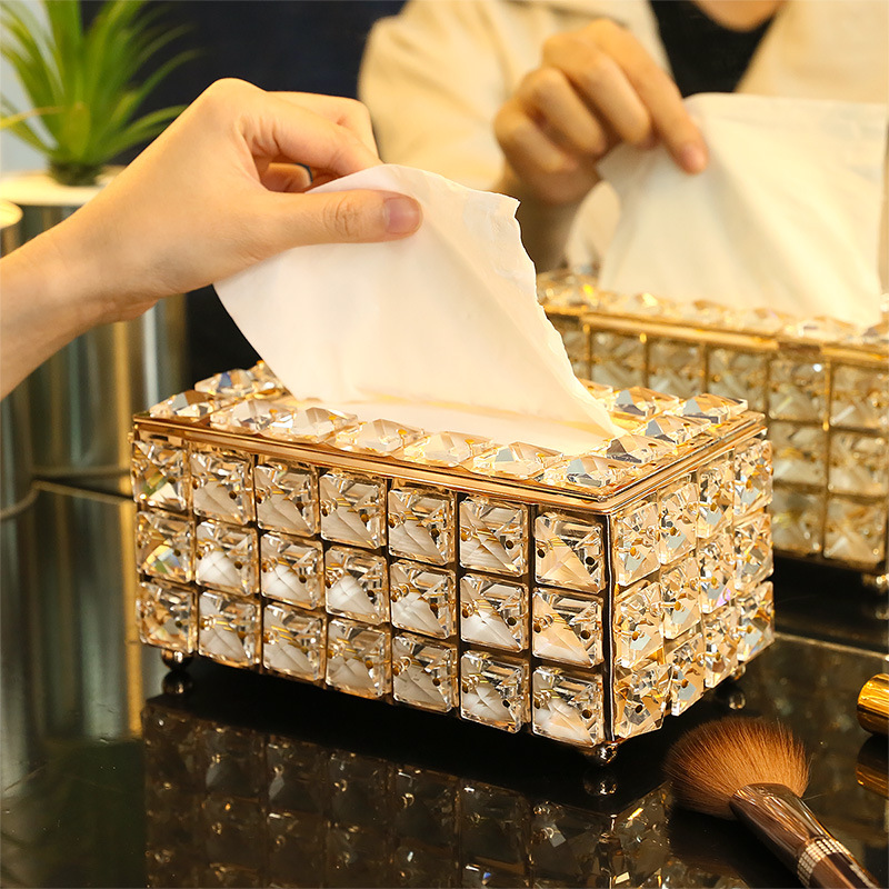 Rhinestone Tissue Box Paper Rack Office Table Accessories Facial Case Holder Napkin Tray for Home Hotel Car