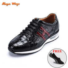 High-end Leisure Shoes Siamese crocodile skin Sneakers for men(China)