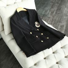 British Women Preppy Style Double Breasted Casual Blazer Slim Fit Jacket Female Badge Embroidery Suit Outwear Coat Blazers Black(China)