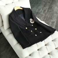 British Women Preppy Style Double Breasted Casual Blazer Slim Fit Jacket Female Badge Embroidery Suit Outwear Coat Blazers Black