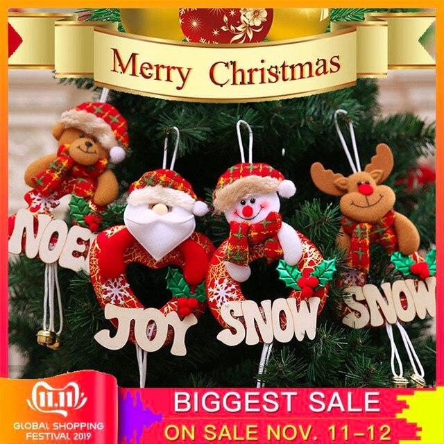 4pcs Christmas Tree Alphabet Bell Pendant Xmas Gift Santa Claus Snowman Elk Bear Toy Doll Hang Decorations For Home Navidad