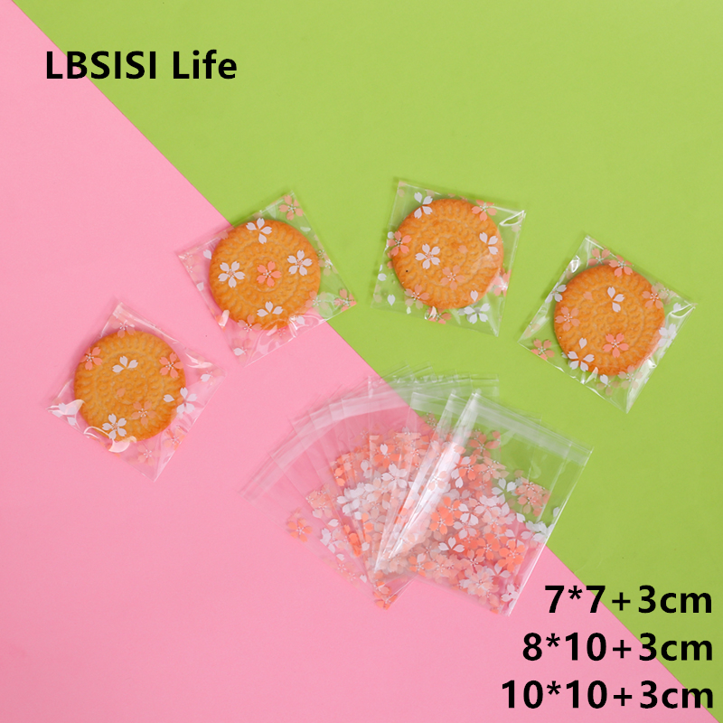 LBSISI Life 100pcs Cookies Resealable Gift Candy Food Beans Cookie Clear Flower Handmade Self Adhesive Packing Bags