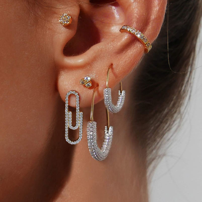 Trendy Gold Color Paper Clip Safety Pin Stud Earrings