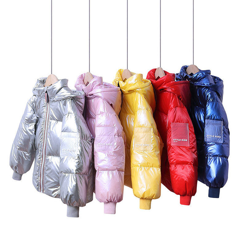 4-12 Y Children's Fashion New Kids Down Jacket Solid Color Removable Hat Glossy Coat Boy Girl White Duck Down Children's Clothes