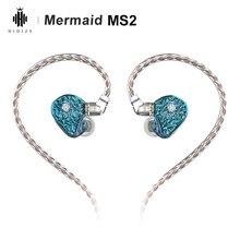 Hidizs Mermaid MS2 1DD 1BA driver ibridi HiFi Monitor In-Ear auricolari IEM 2pin 0.78mm cavo staccabile auricolari