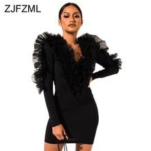 Mesh Ruffles Patchwork Sexy Mini Dress Women Deep V Neck Neon Green Bodycon