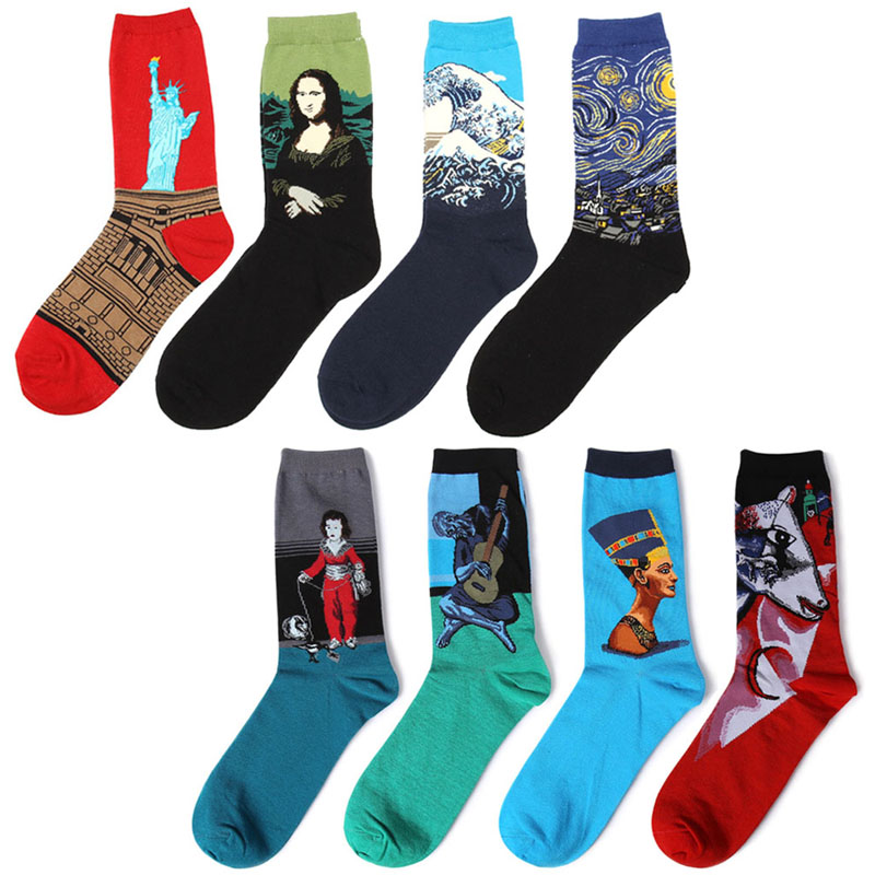 New Painting Art Men Quality Mens Happy Socks Many Colors Striped  Socks Men Combed Cotton  SC04