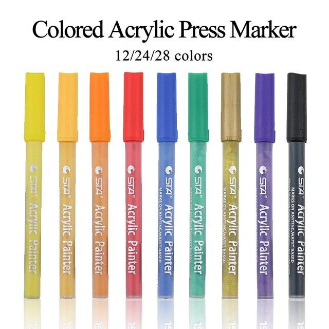 STA-stylo marqueur créatif de couleur acrylique à base deau, graffiti, papier/toile/céramique/plastique/peinture sur tissu, bricolage, 1100