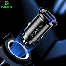 FLOVEME 3.1A USB Car Phone Charger Mobile Phone Car Fast Charger Universa Mini Dual USB Charging Car-Charger For iPhone Xiaomi(China)