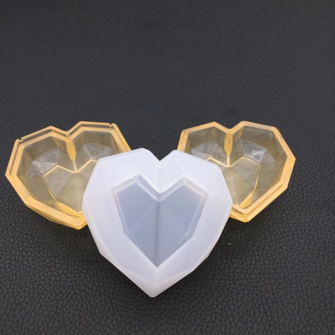 Faceted Heart Trinket Box Silicone Mold Heart Dish Cover Mold Heart Tray Mold Kawaii Epoxy Resin Art Supplies UV Resin Craft
