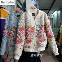 Autumn Winter Short Jacket New Ladies Joker Short Coat Jacquard Embroidery Beaded 3D Flowers Long Sleeve Casual Baseball Coat