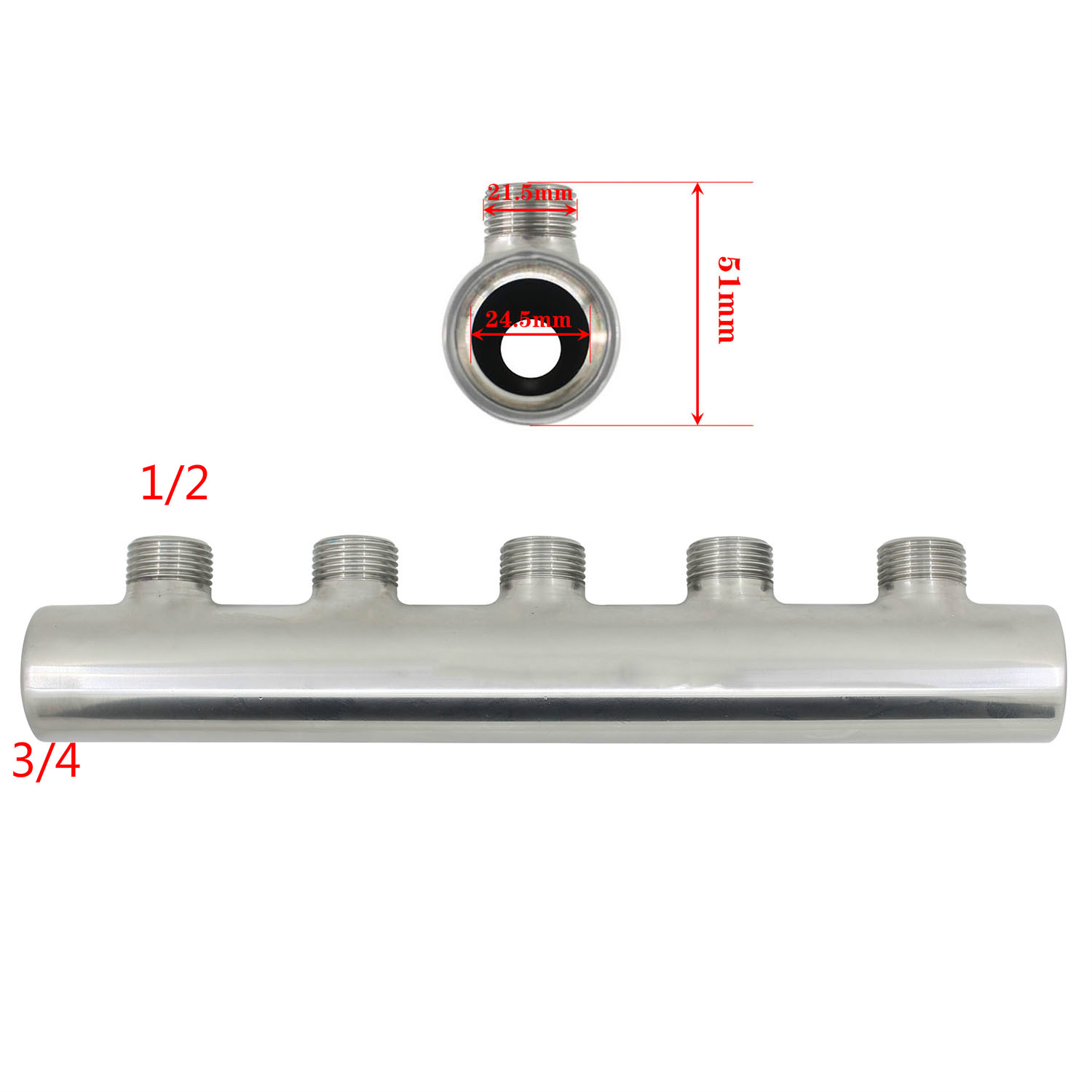3/4*1/2  Stainless Steel Water Distribution Manifold For Underfloor Heating System(2-12 Port)  Open At Both Ends