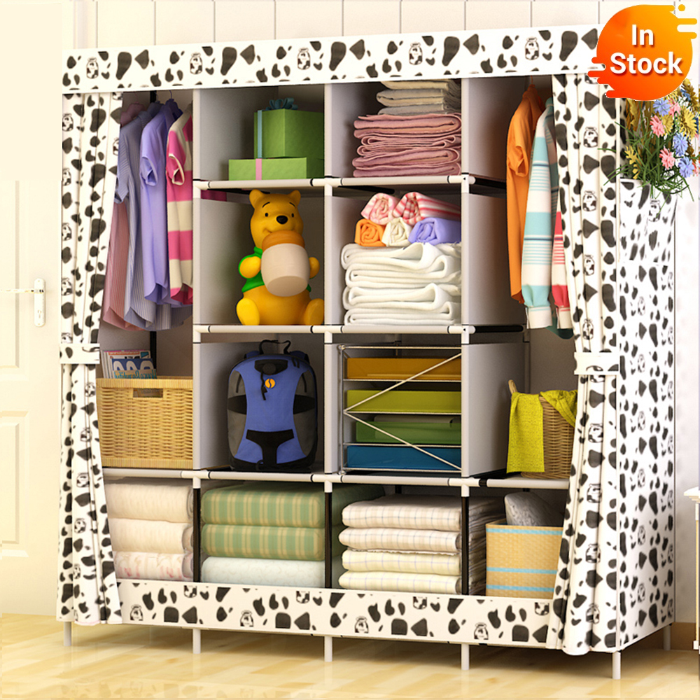 Large Size Modern Simple Wardrobe Fabric Folding Cloth Storage Cabinet DIY Assembly Easy Install Reinforcement Wardrobe Closet