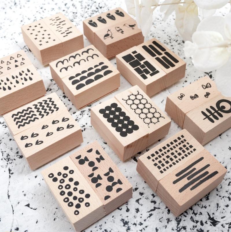 TUNACOCO Forest Stamp 2pcs/set Seal Sighnet Animal Wood Plant Wooden Stamp Bullet Journal DIY Crafts Qt1710138