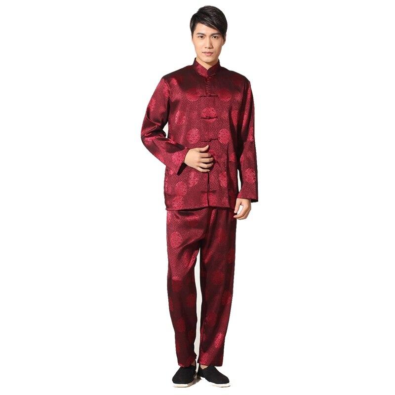 Chinese National Costume Men's Kung Fu Suit High Quality Silk Satin Tai Chi Wu Shu Sets Vintage Dragon Wu Shu Casual Clothing
