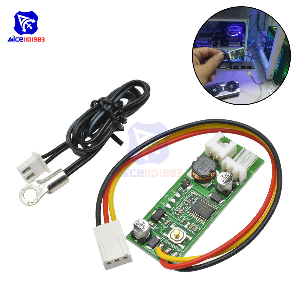 Diymore DC 12V Temperature Controller Denoised Speed Controller ON/OFF For PC Fan/Alarm Board Module With NTC Sensor Probe