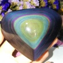 Natural arco-íris obsidian cat eyes quartzo cristal coração pedras cura cristais de quartzo e minerais espécime decoração presente