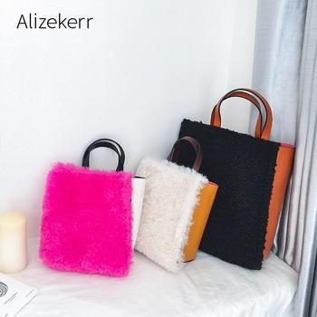Panelled Faux Fur Tote Bag Women 2020 Winter New Designer Large Capacity Wool Handbags Ladies Casual Crossbody Bag High Quality
