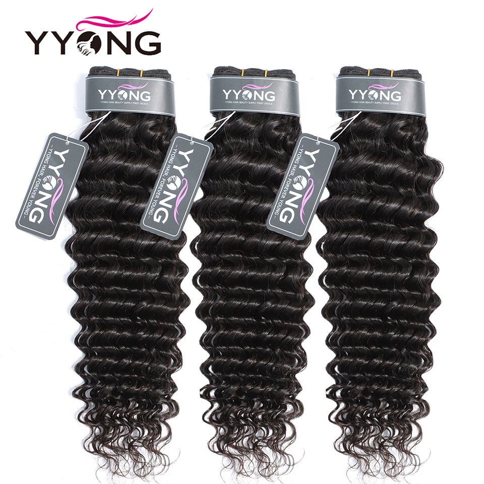 Image 3 - YYong 3 Bundles Peruvian Deep Wave Bundles With Frontal Ear To Ear Lace Frontal With Bundles Remy Human Hair Bundle With Closure-in 3/4 Bundles with Closure from Hair Extensions & Wigs