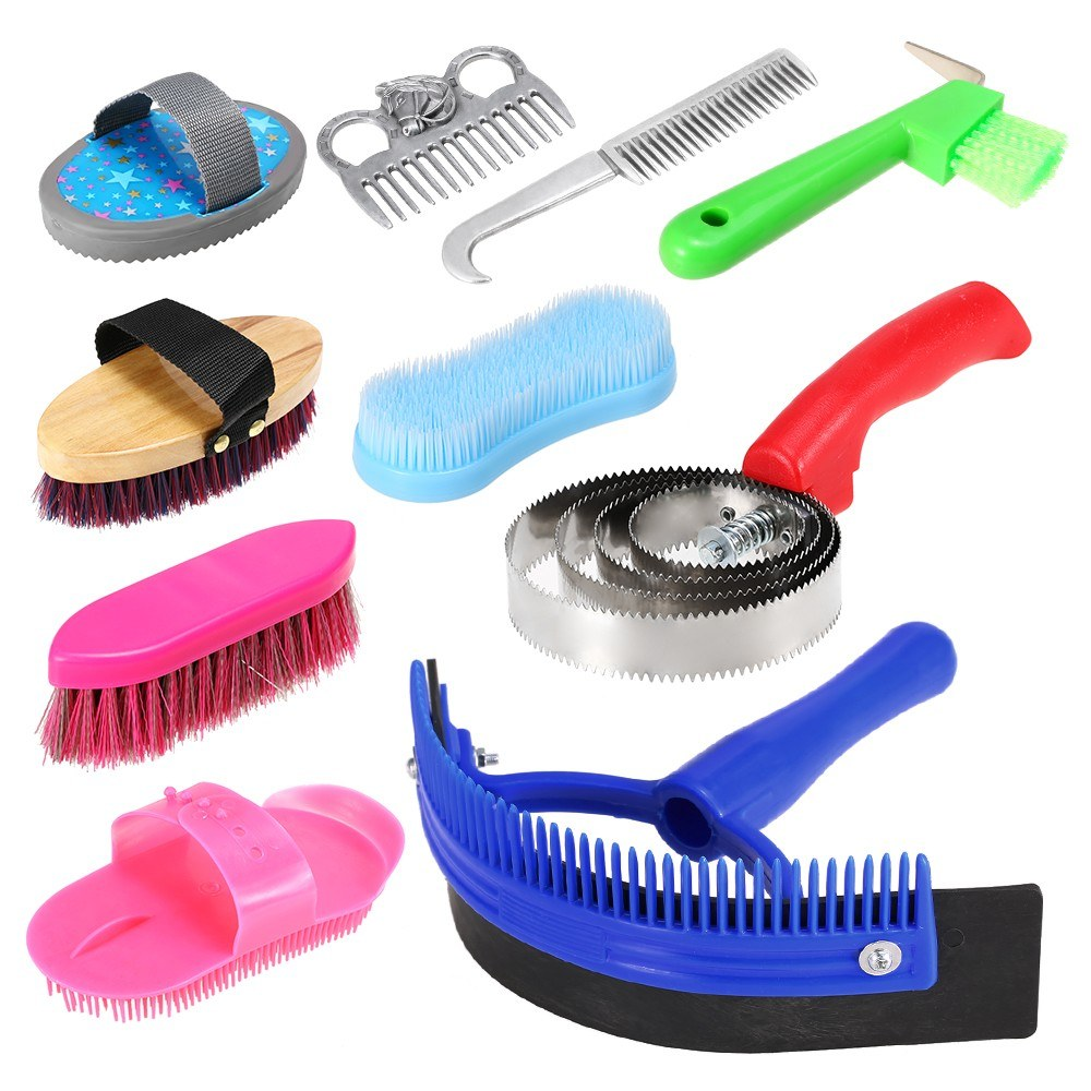 10-IN-1 Horse Grooming Tool Set Cleaning Kit Mane Tail Comb Massage Curry Brush Sweat Scraper Hoof Pick Curry Comb Scrubber