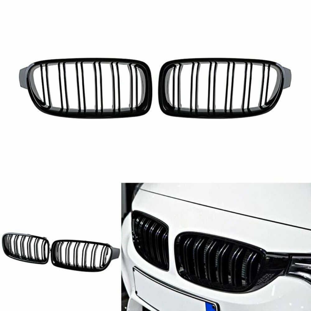 Czarny błyszczący podwójna linia przednie kratki nerkowe samochodu BMW F30 F31 3 Series 12-18