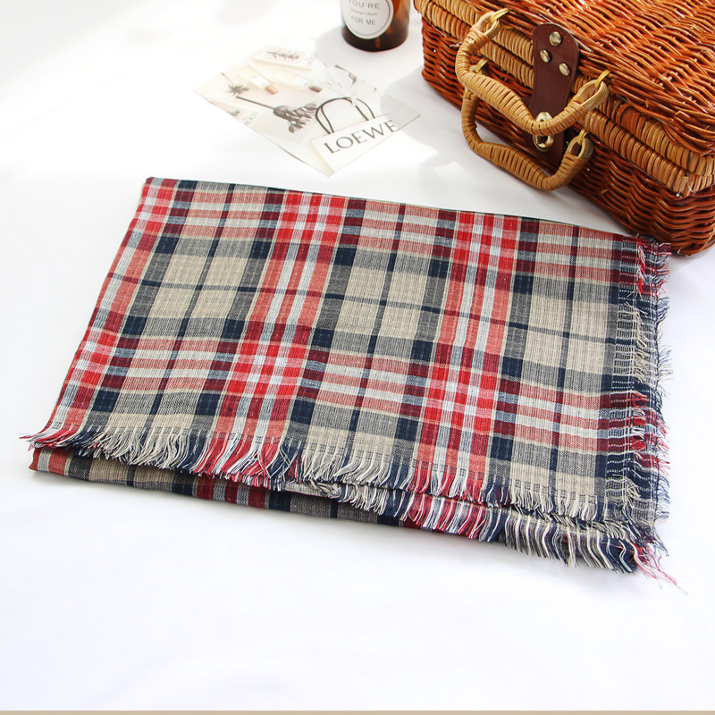 Dongdaemun Korean-style 2019 New Thin Double-Sided Imitated Silk Fabric Plaid Douyin Silk Scarves Student Network Red Travel Sca