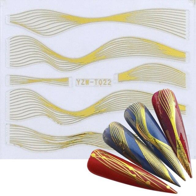 Фото morixi золотая наклейка для дизайна ногтей волнистые вкладыши