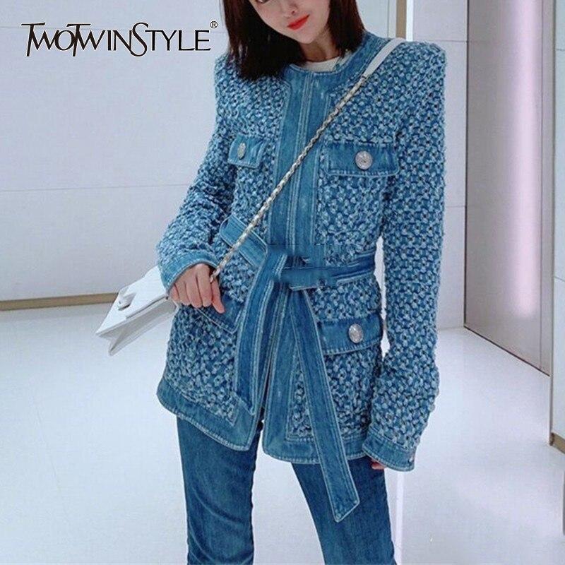 Deuxtwinstyle Streetwear évider Denim femmes vestes O cou à manches longues poche à lacets veste femme automne mode nouveau 2019